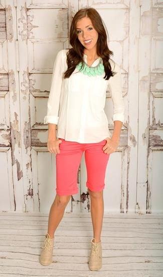 white chiffon blouse pink knee length shorts