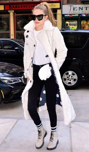 white combat boots long faux fur coat