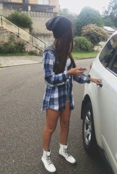white combat boots plaid boyfriend shirt