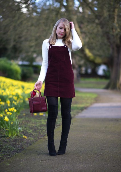 white crew neck sweater black corduroy dress