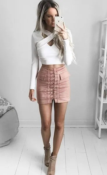 white criss cross front crop top pink lace up mini skirt