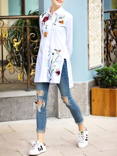 white embroidered high low shirt with slit