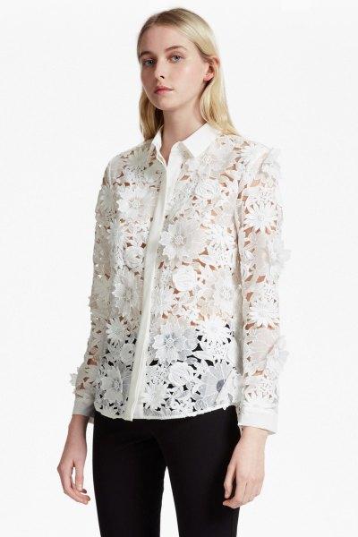 white floral lace button up shirt