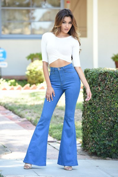 white half sleeve crop top sky blue bell bottom jeans
