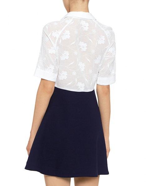 white half sleeve lace shirt navy skater skirt