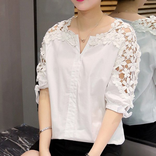 white half sleeve shirt floral lace sleeves