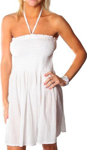 white halter neck ruffle tube dress