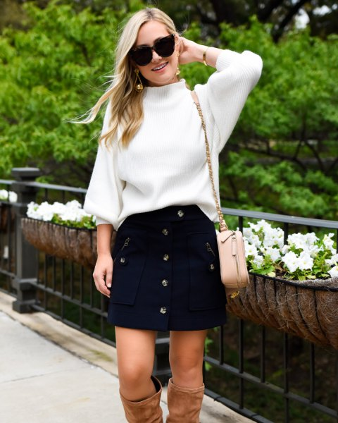 white knit sweater button front navy mini skirt