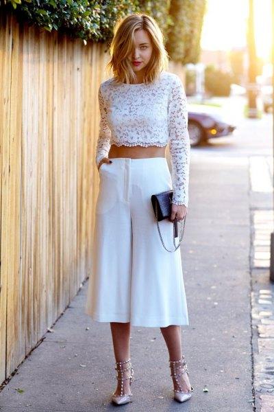 white long sleeve crochet crop top wide leg cropped pants