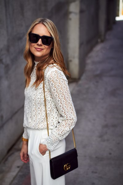 white long sleeve lace top wide leg pants