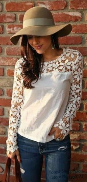 white long sleeve linen blouse lace details