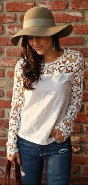 white long sleeve linen blouse lace details