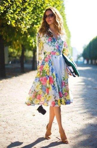 white long sleeve midi floral skater dress