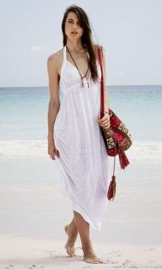 white maxi slip dress fringe bag