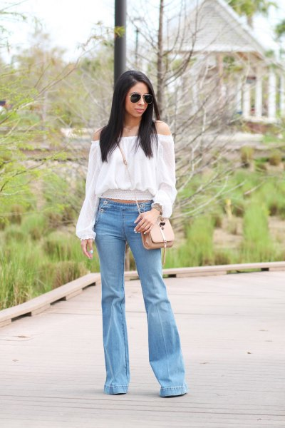 white off shoulder blouse light blue jeans