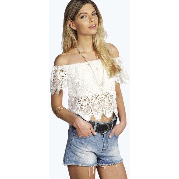 white off shoulder cropped top denim shorts