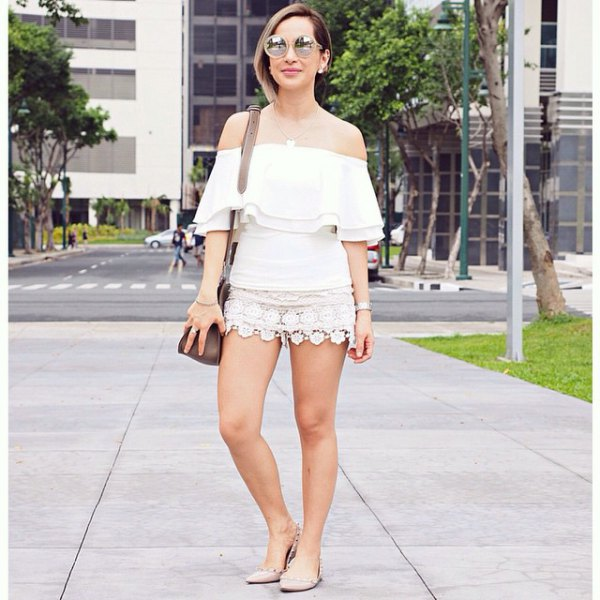 white off shoulder top lace mini skirt