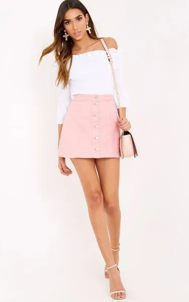 white off shoulder top pink button up denim skater skirt