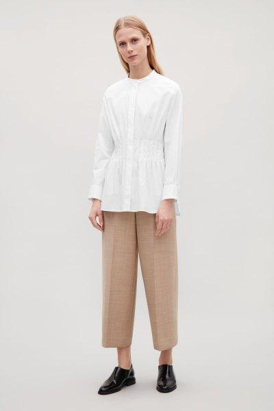 white peplum collarless shirti wide leg cropped pants