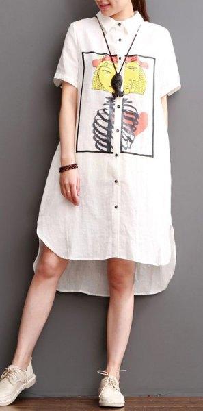 white printed midi linen shirt dress