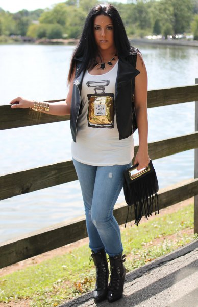 white printed tank top leather vest