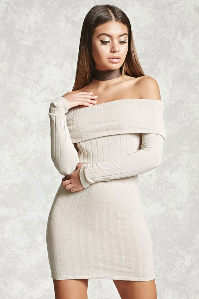 white ribbed folder shoulder mini bodycon dress