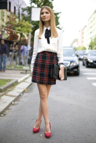 white ribbon bow blouse