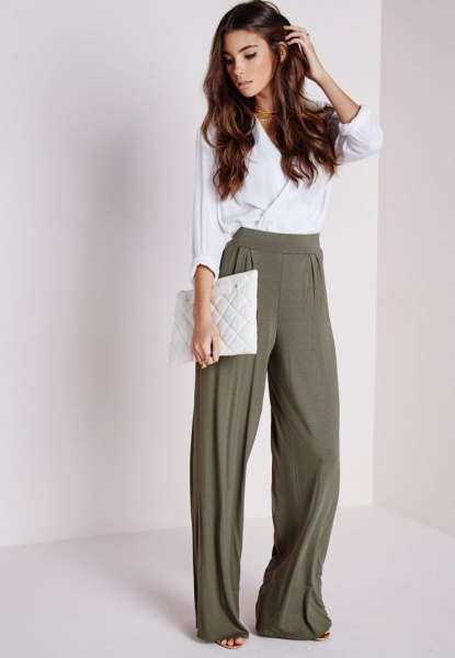 white silk wrap top olive green wide leg pants