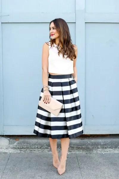 white sleeveless crop top black and white striped midi skirt