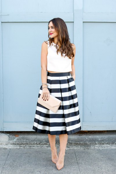 15 Best Black And White Striped Skirt Outfit Ideas Fmag Com