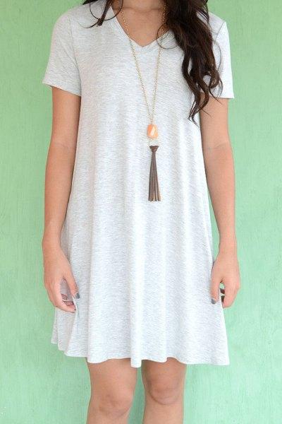 white t shirt dress boho style necklace