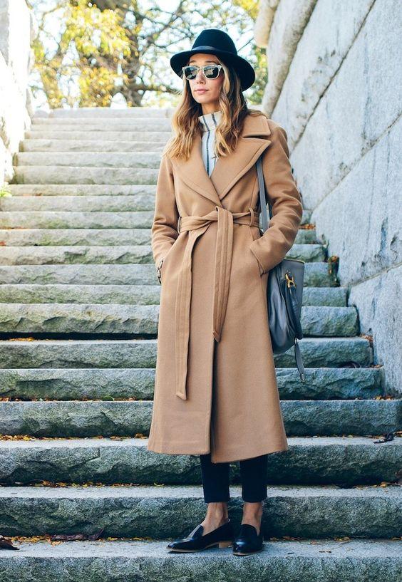 wool wrap coat camel