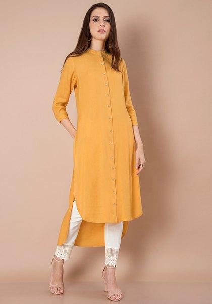 yellow maxi high low shirt dress white pants