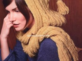 hooded scarf blue yellow combo