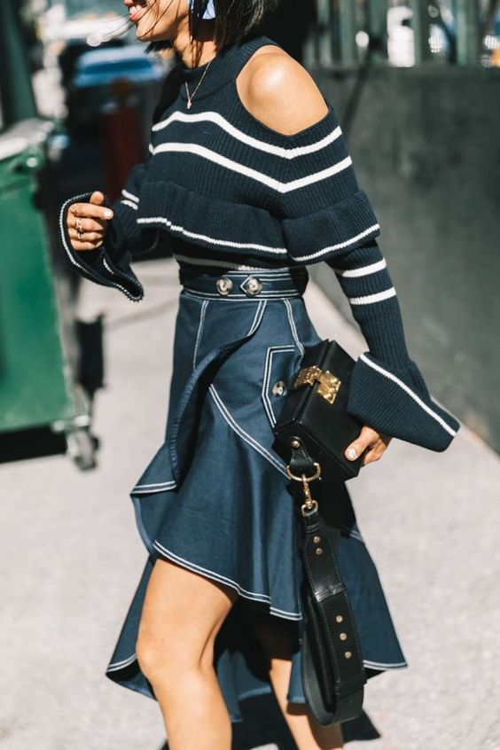asymmetrical skirt street style navy blue