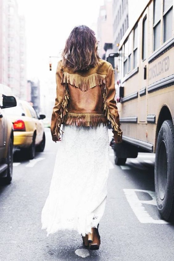 fringe leather jacket white dress
