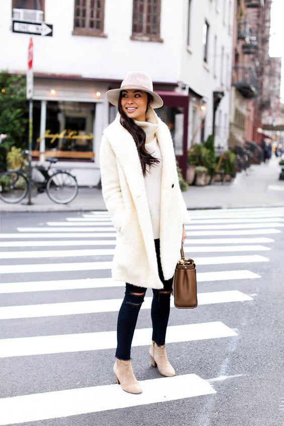 boucle coat white coat