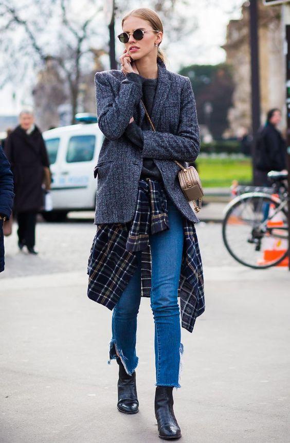 tweed blazer classic layers