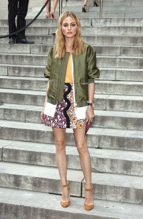 olive green jacket printed skirt