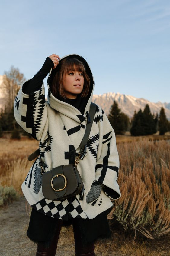 hooded poncho black white