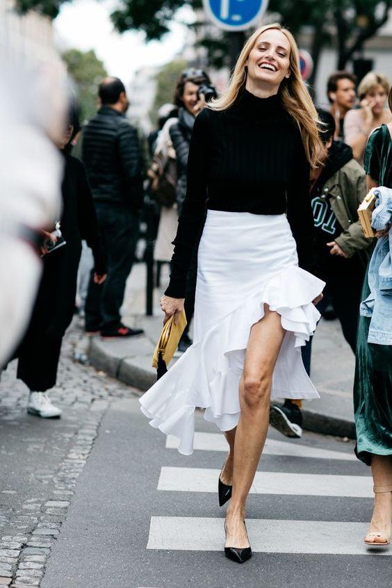 asymmetrical skirt street style black white