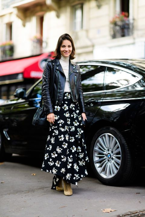 asymmetrical skirt casual floral