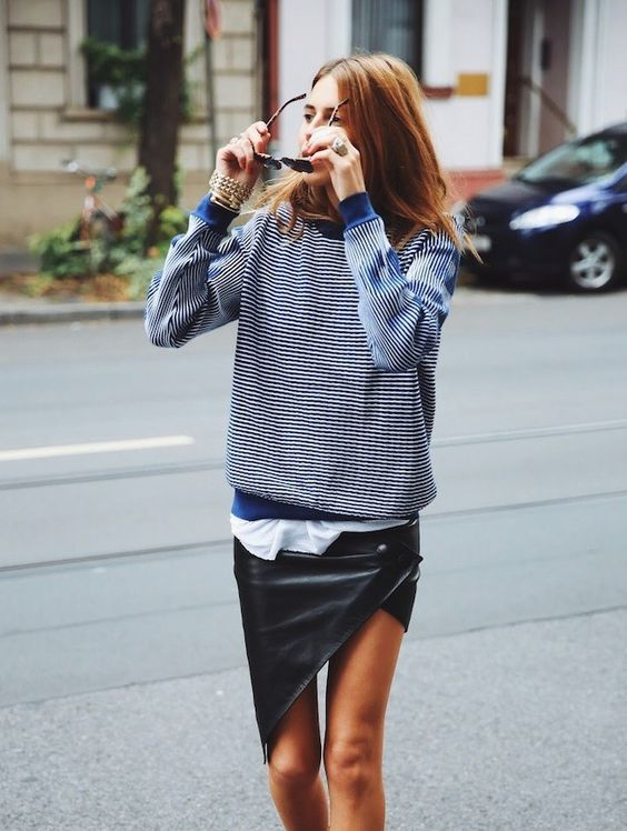 asymmetrical skirt leather sporty mix