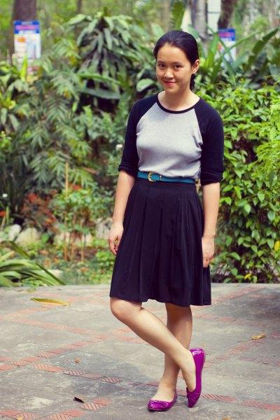 baseball t shirt black knee length flared skirt