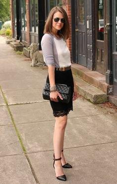 baseball t shirt black lace scalloped hem skirt