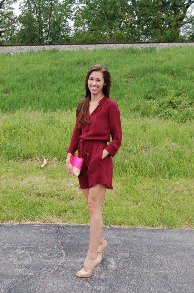 belted gathered waist shift dress pale pink heels
