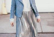 best silver metallic skirt outfit ideas