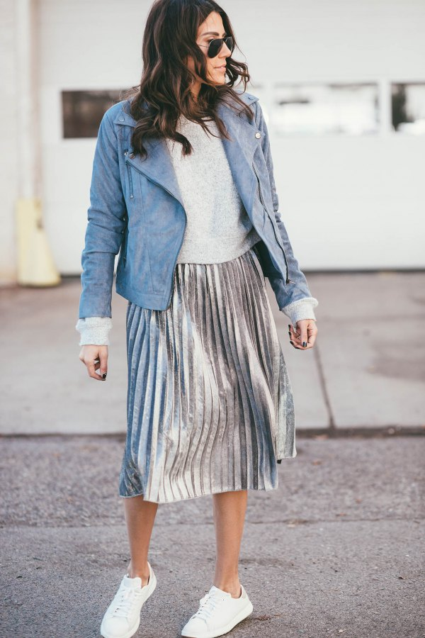 best silver metallic skirt outfit ideas