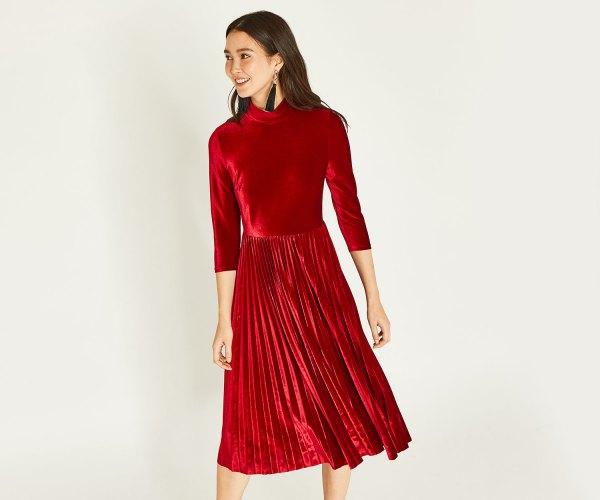 796780f2c92 MinkPink Red Velvet Dress – Front Full Image