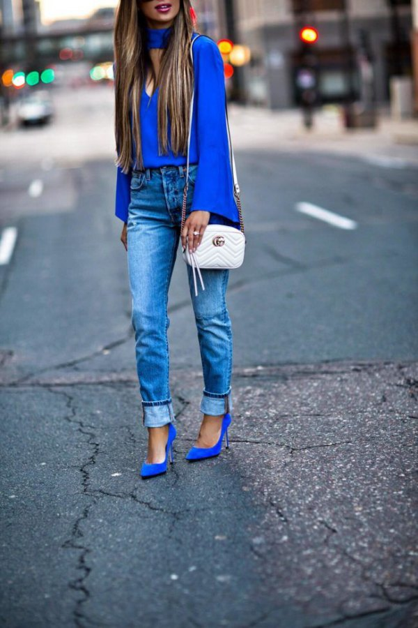 best blue suede heels outfits